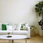 Decorative plant with white pot as the corner decoration a white sofa with white pillows and green pillows an oval white table