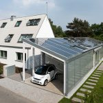 Eco-friendly house design in white scheme color with solar panels on car port roofing