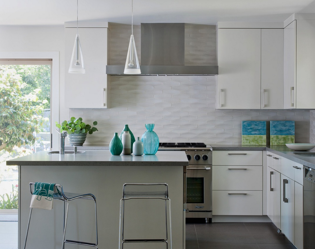 Elegant White Kitchen Backsplash Modern Gas Stove White Kitchen Cabinet  Units Simple And Small Kitchen Island