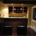 Elegant wine bar basement with low leg barstools