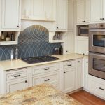 Fabulous kitchen backsplash in blue for small country kitchen white kitchen cabinetry gas stove some electric kitchen appliances luxurious marble kitchen island wood flooring system