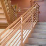 Fine finishing wood handrail with horizontal fine finishing wood rails