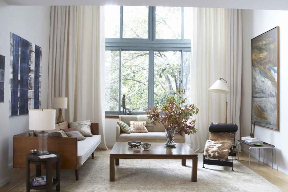 Full Length White Curtains For Modern Living Room Two Sofas A Standing Lamp Side