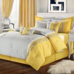 Glamour yellow corner window curtains with inner white lace curtain luxurious corner chair with pillow in silver tone king bed furniture with yellow dominant bedcover and pillows small white wool rug