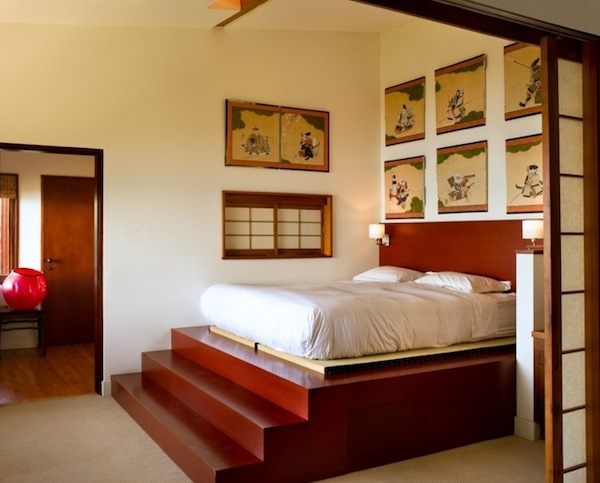 Higher Platform Bed Idea Supported With Stairs A Lot Of Wall Arts