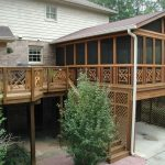 Home deck idea upstairs with wood rails