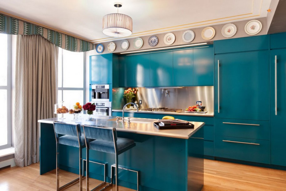 Kitchen Set With Blue Deep Ocean Color Scheme For Kitchen Island With White Glossy Top Plus