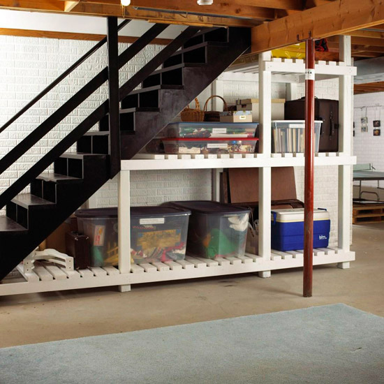 Merveilleux Large Space Shelving Unit Under The Staircase Of The Basement