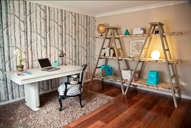 Larger wooden ladders as creative corner decoration idea white working desk and chair beautiful floral wallpaper medium size wool rug in brown hardwood floors