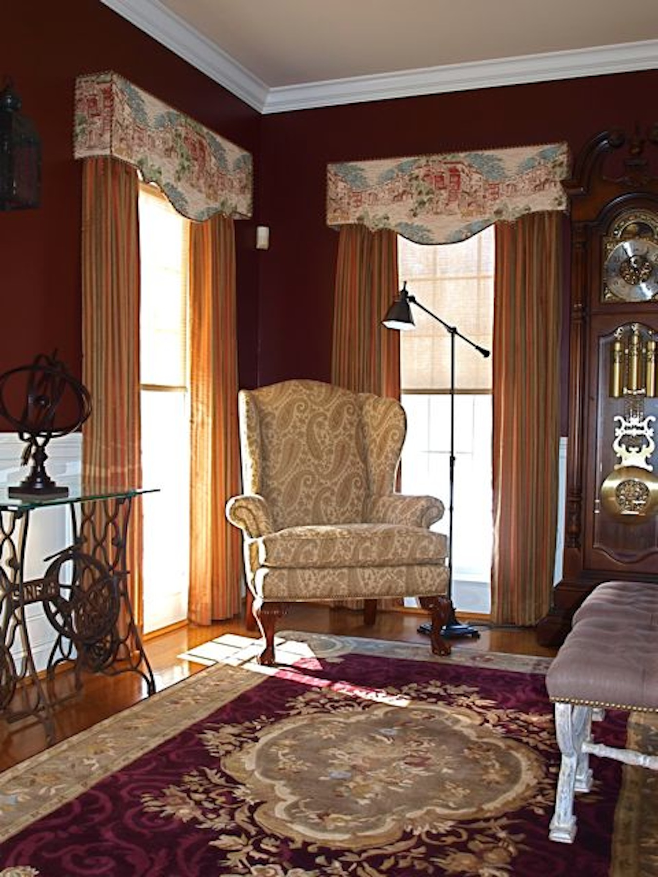 Lighter Brown Curtains With Upper Decoration As The Corner Window Curtain  Idea A Comfy Corner Chair