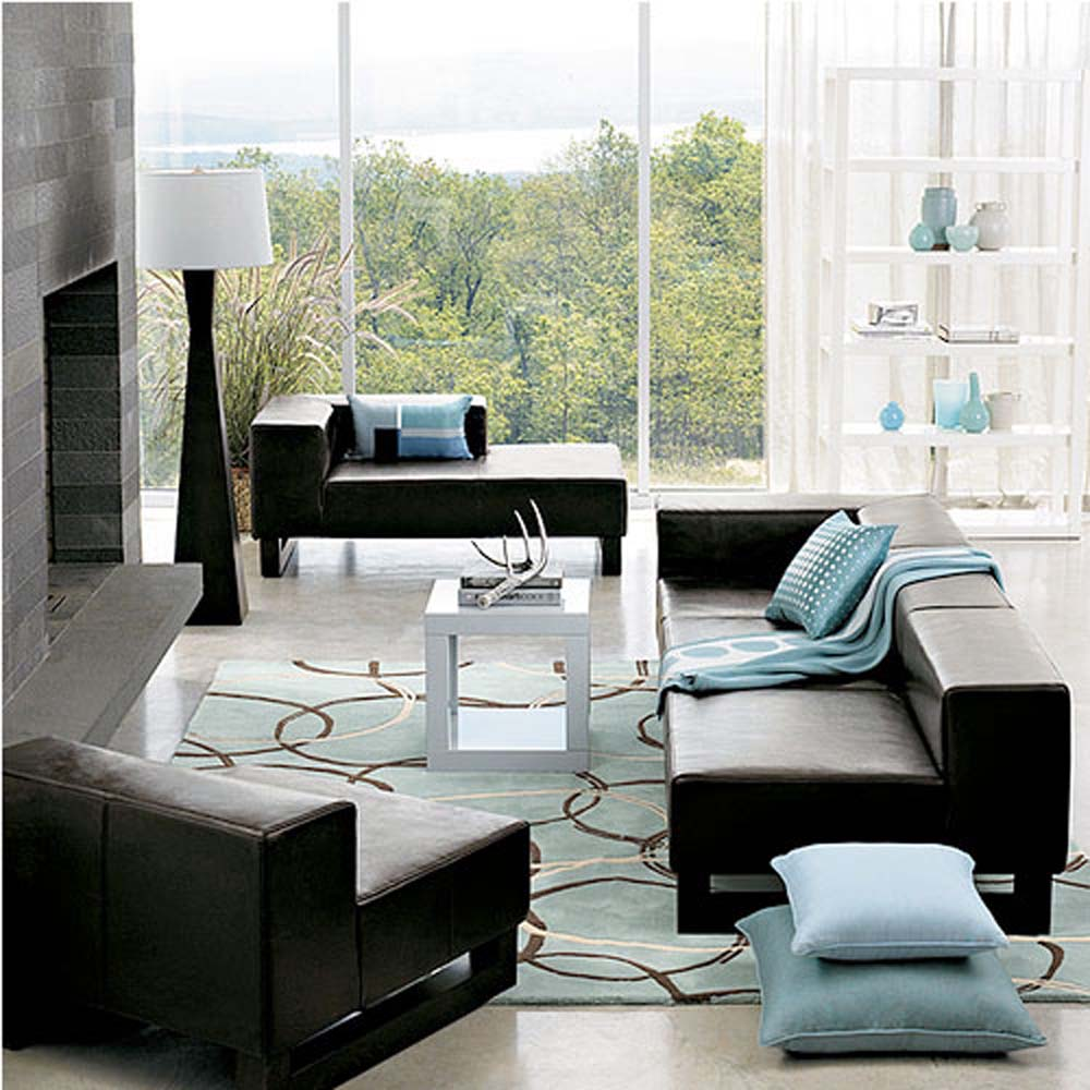 Living Room Remodel Idea In Modern Minimalist Style With Black Leather  Sofas Plus Their Light Blue