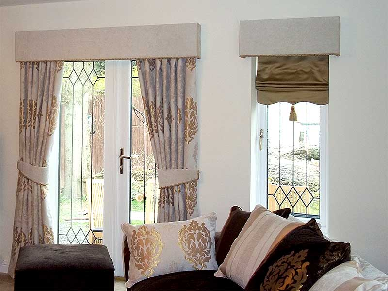 Luxurious Floor To Top Curtains For Glass Door With Metal Trims And Gold  Tone Handle Black