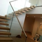 Metal handrail model with transparent glass fence system