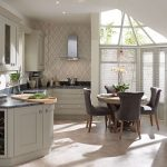 Milbourne Curved Kitchen With Classy Granite Counter A Set Of Dining Furniture A Large Kitchen Storage For Electric Kitchen Appliances Glass Windows With White Blinds