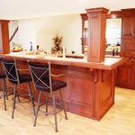 Mini bar idea for basement with backrest barstools light wood floors