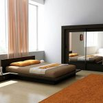 Minimalist Black Platform Bed Design Integrated With Double Bedside Tables Orange Bedroom Rug Idea Lighter Pink Curtains Large Clothes Closet Organizer With Mirror Doors