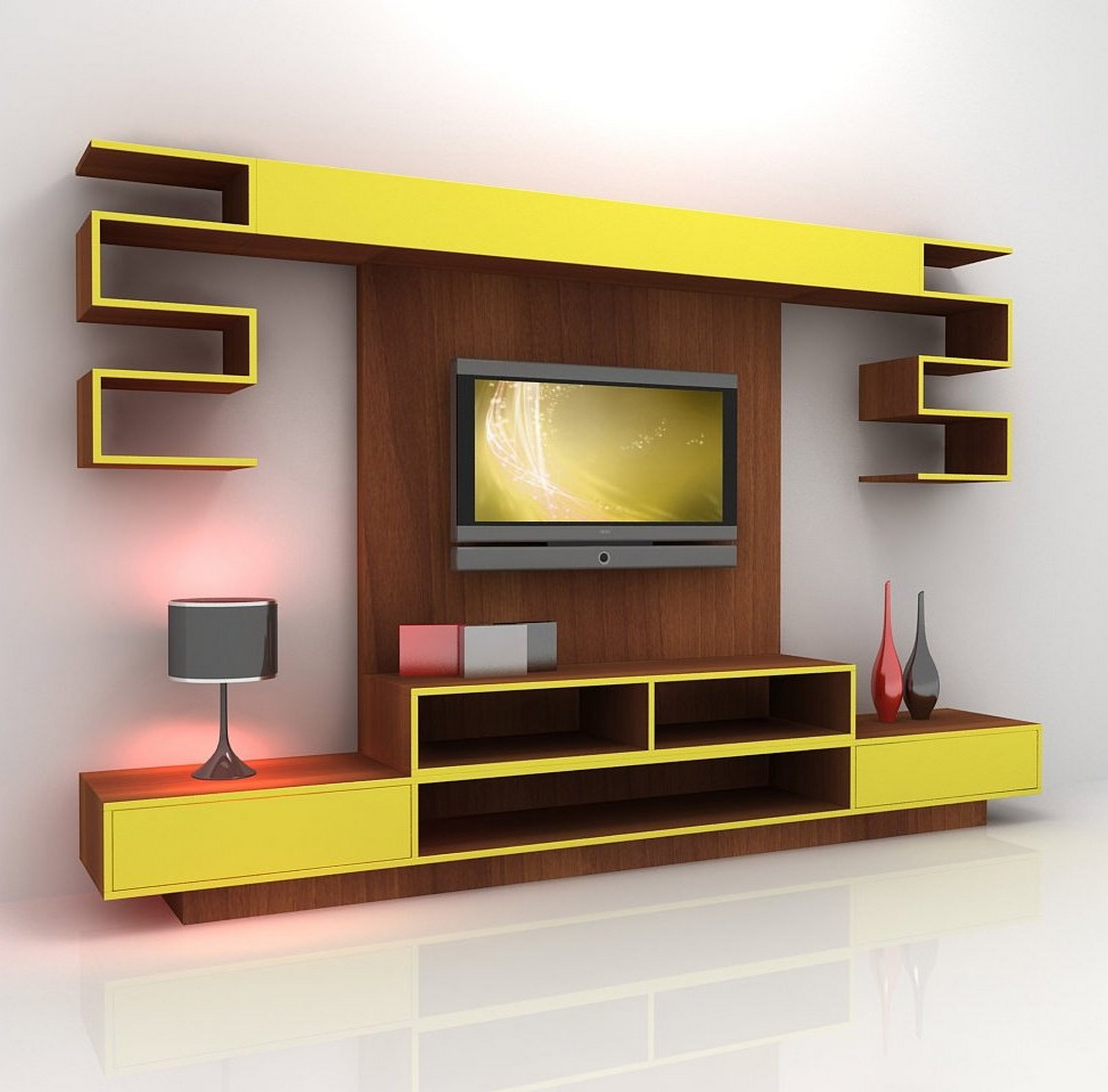 Charmant Modern And Futuristic TV Console Design With Wall Mounted TV Installation  Idea Open Shelves And Desk