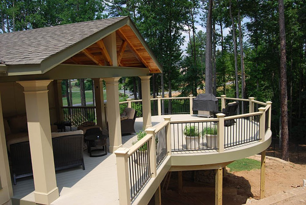 modern covered deck for home with furniture and black vertical metal railing system ideas u95 deck