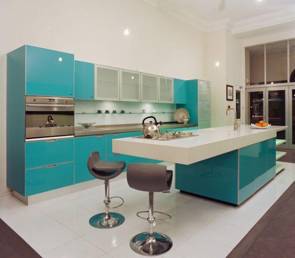 modern minimalist kitchen idea with beautiful turquoise kitchen cabinets and kitchen island with white top a - Turquoise Kitchen Cabinets