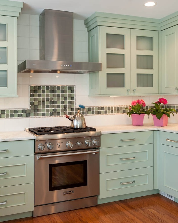 Mosaic Backsplash Tiles Idea For Country Kitchen Design White Counter Light Turquoise Cabinetry A