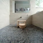 Natural stone floors porcelain tiles in a modern shower space without door