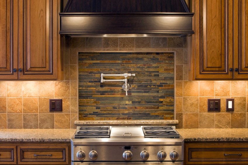 Natural Tone Backsplash Tiles For Kitchen In Country Style With Brown Granite Countertop Wooden