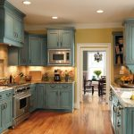 Old look turquoise kitchen cabinets for classic kitchen idea elegant and expensive marble kitchen countertop  gas stove sink and faucet wood floor system