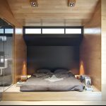 Platform Bed Design A Pair Of Double Recessed Light Fixtures