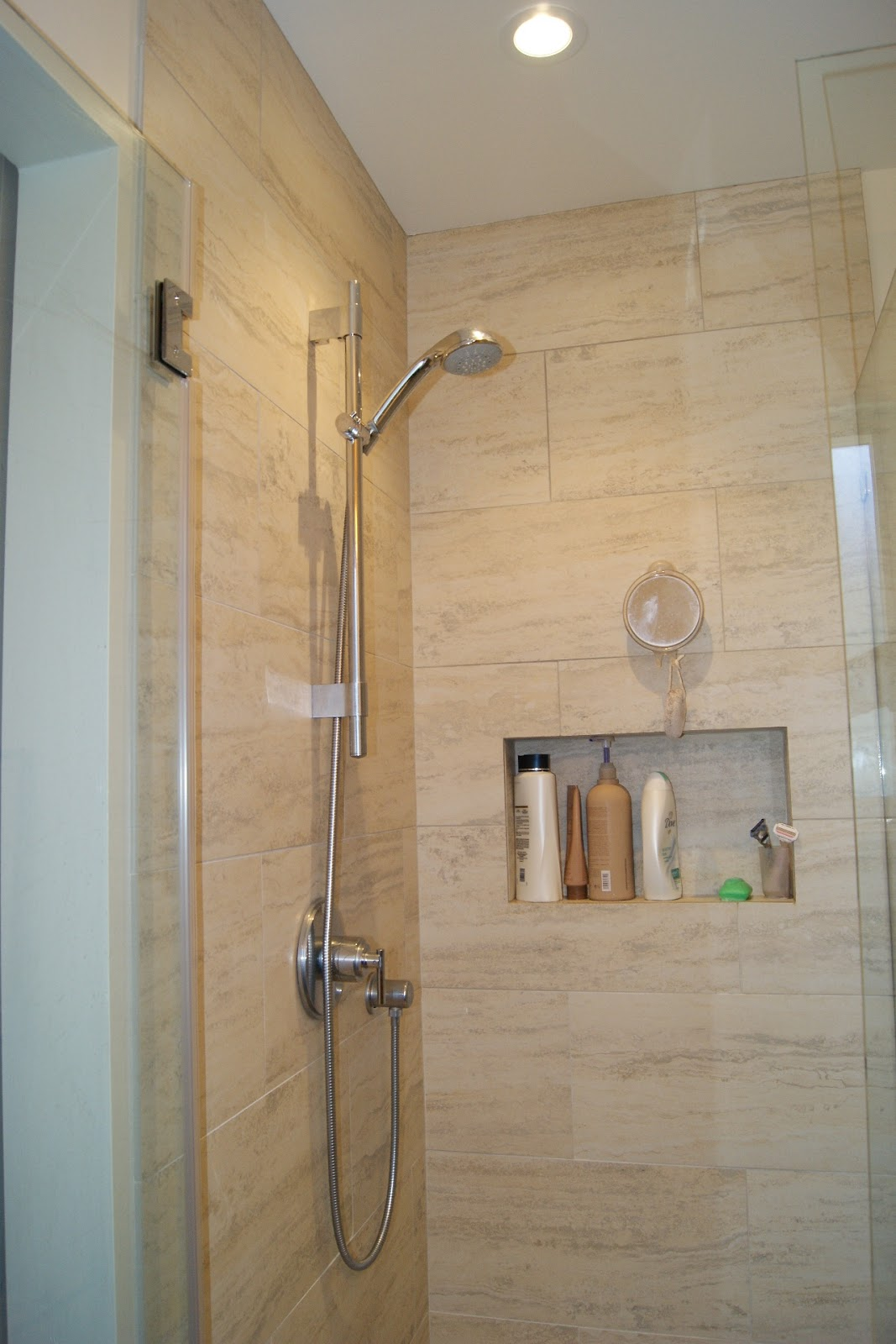 Porcelain Tiling Idea For Doorless Shower Built In Shelf For Storing