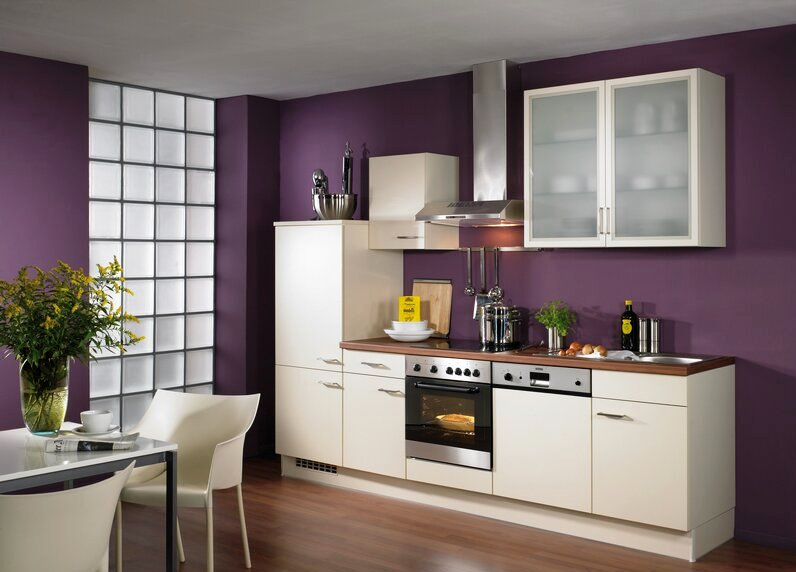 Purple Wall Paint Color For Small Modern Kitchen Wood Countertop With Sink White Cabinetry