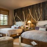 Rustic Bedroom Decorating Idea With Two Single Bed Furniture With Unique Headboard An Ottoman Chair Drawer System As The Bedside Table