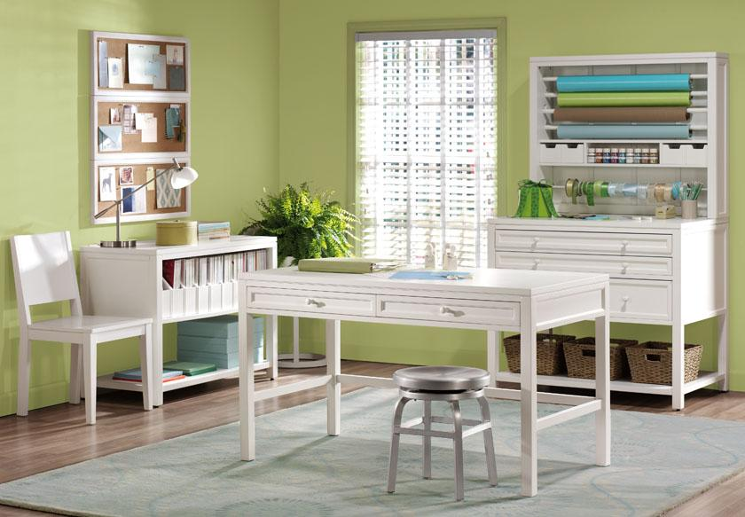 Semi Classic Modern Room For Crafting With White Crafting Table Low Leg Barstool A Storage Unit