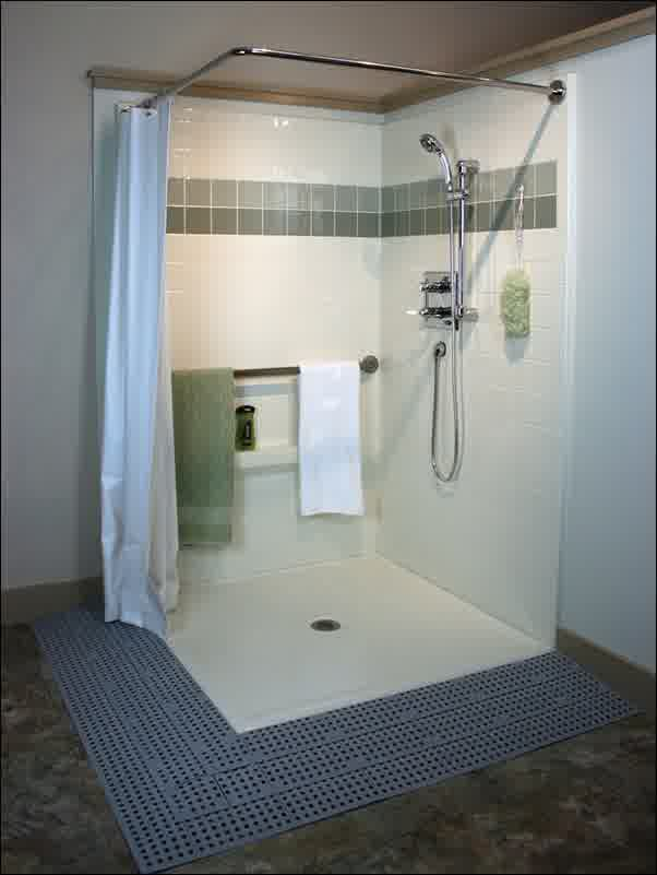 Shower Without Door With Blue Curtain A Helhand Fixture Bronze Kit Mounted On Wall Water