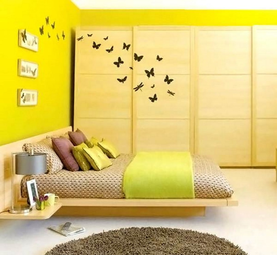 Simple And Bright Yellow Paint For Bedroom Wall With Unique Bedding And  Yellow Blanket And Also