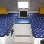 Simple bedroom idea for RV with a pair of single bed in blue color with white dot decoration with yellow covered pillows a small monitor in the middle of two beds