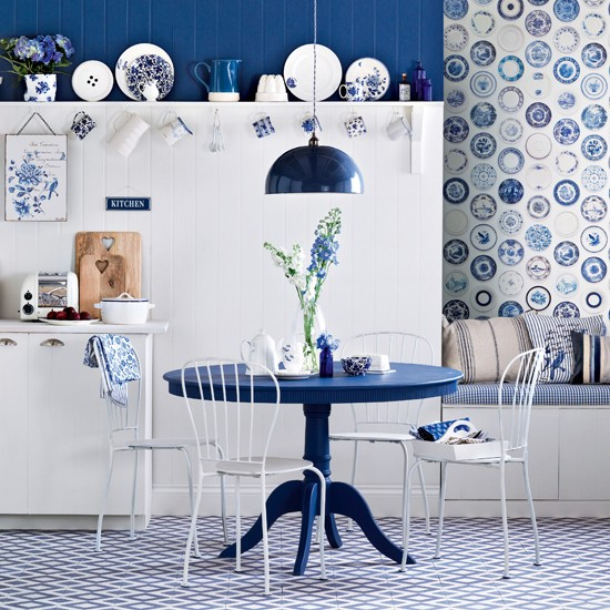 Simple But Elegant Kitchen Set And Dining Furniture In Dark Blue Theme Some Dishware Collections Organized