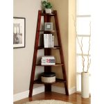Simple corner ladder as shelving unit small white wool rug a minimalist pot with decorative dried plant glossy stained wood flooring idea
