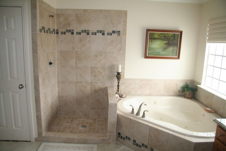Simple shower space without door built in corner tub with water sprayer a painting about the nature single candle stand in classic style