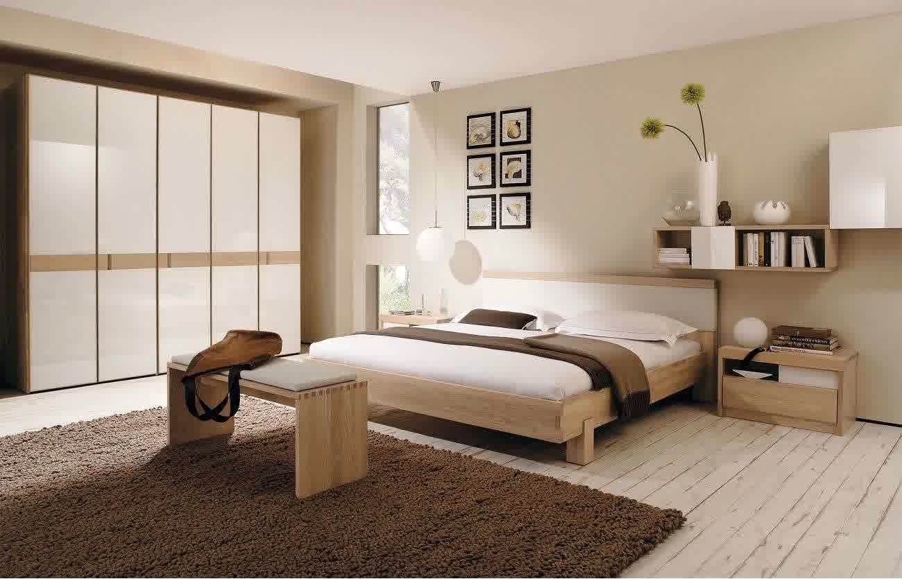 Sketch of color schemes for contemporary bedroom with wooden bed furniture plus its headboard wooden bedside
