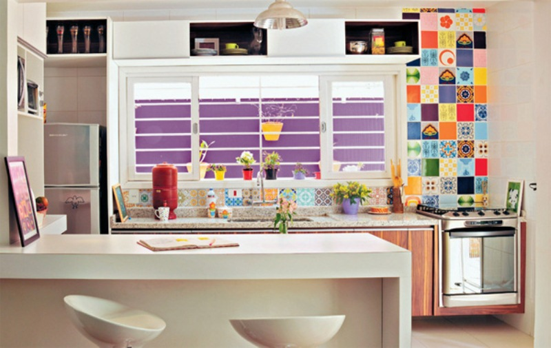 Small And Colorful Kitchen Decorating Idea With Simple White Kitchen Island  Plus Its Modern White Barstools
