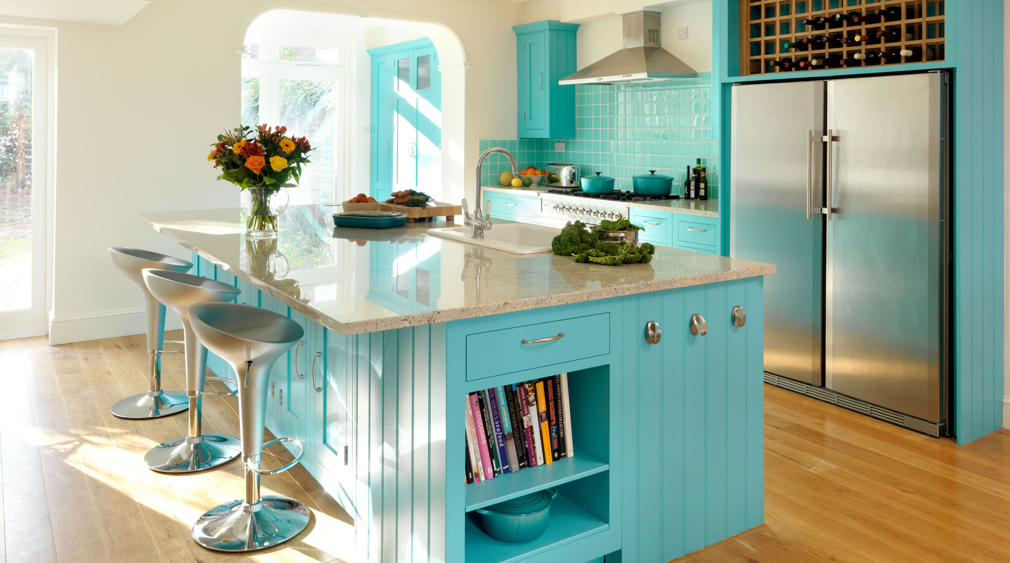 Small Kitchen And Bar In Turquoise Color With Luxurious Granite Island Top Elegant
