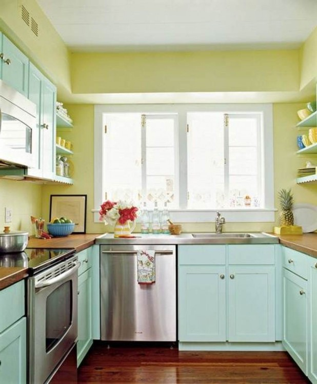 Teal Kitchen Cabinets teal kitchen cabinets: how to paint them? | homesfeed