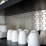 Stainless steel backsplash tiling for modern kitchen collections of dishware in white color