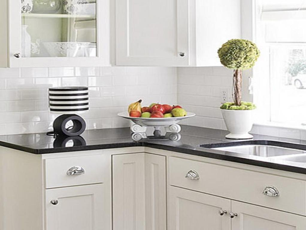 Kitchen Backsplash White subway tiles backsplash in white color black kitchen countertop