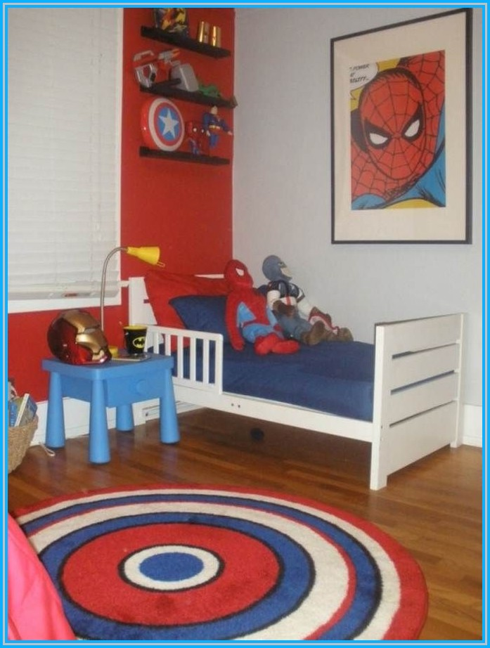 Superhero Bedroom Idea With Small Bed Furniture A Rounded Rug With Captain  Of America Theme Small