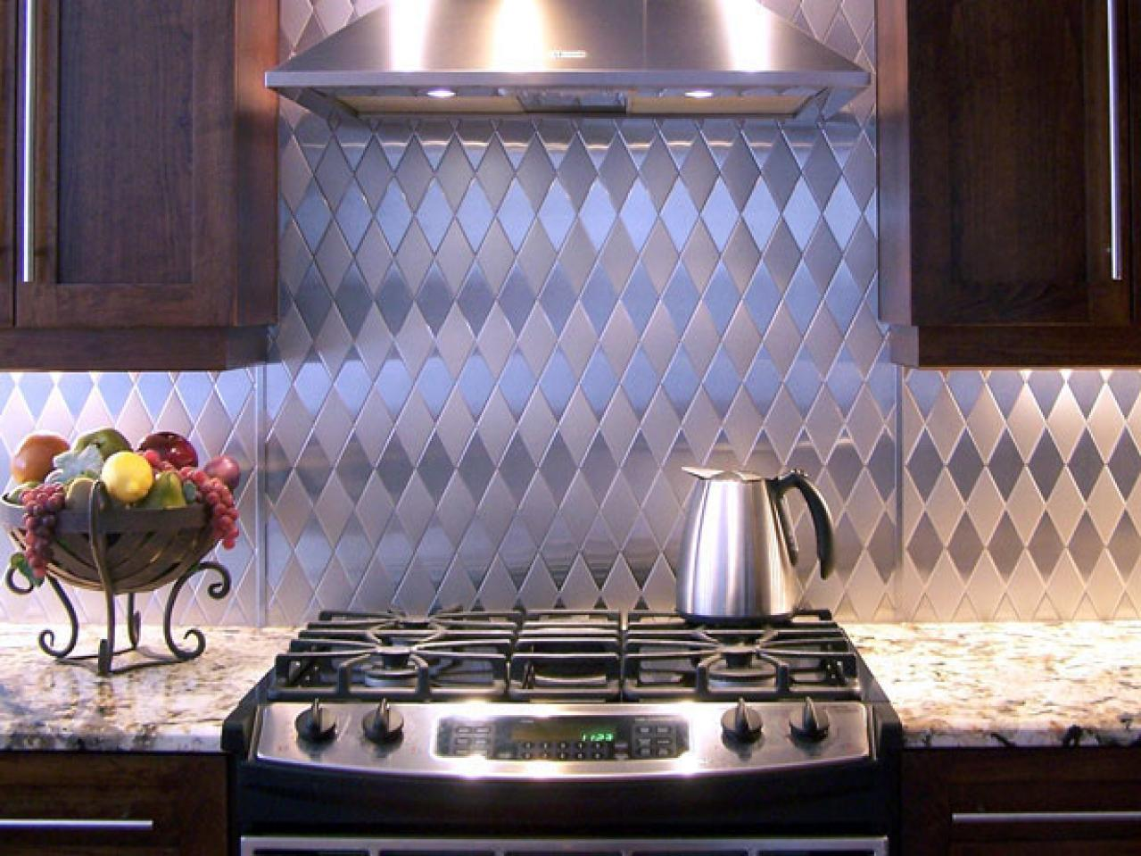 Textured And Patterned Stainless Steel Kitchen Backsplash Idea Large Gas Stove Luxurious Marble Kitchen Countertop