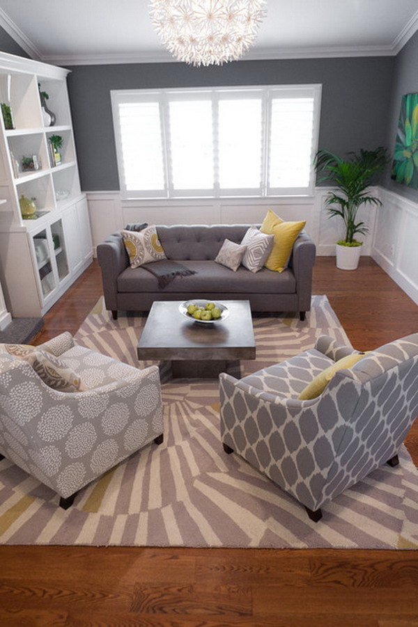 Three Comfy Sofas With Different Motifs Plus Pillows Medium Size Rug Modern Pattern Hardwood Floors