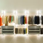 Top and under clothing closet organizer light fixtures