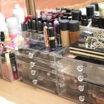 Transparent glass boxes for storing make up pieces