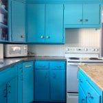 Turquoise kitchen cabinet series white tiles kitchen backsplash a kitchen island with unfinished wood surface white and blue tiles floor idea